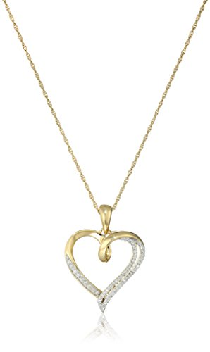 18K Yellow Gold over Sterling Silver Diamond Heart Pendant Necklace (1/10 cttw), 18