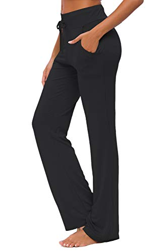 Womens Yoga Pants with Pockets Straight-Leg Loose Comfy Modal Drawstring Lounge Running Long Active Casual Sweatpants Workout Black