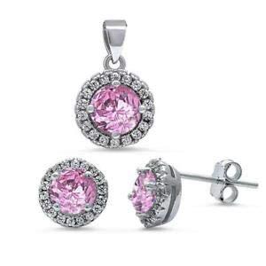 Halo Pink Cz /& White Cz 925 Sterling Silver Pendant /& Earrings Set Jewelry Accessories Key Chain Bracelet Necklace Pendants