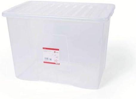 5 Star Office 938499 - Caja de plástico apilable con tapa (80 L), color transparente: Amazon.es: Oficina y papelería