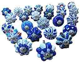 Karmakara Set of 25 Blue and White Hand Painted Ceramic Pumpkin knobs Cabinet Drawer Handles pulls