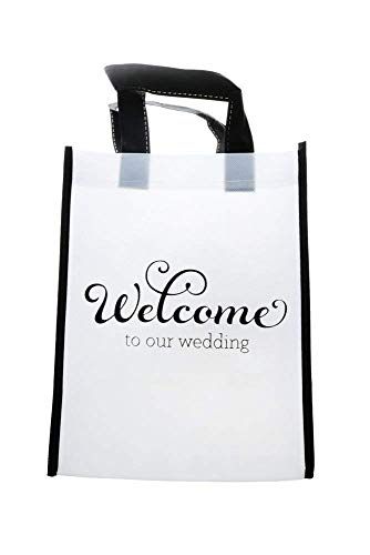 (50 'Welcome to Our Wedding' Premium Quality Black & White Welcome ECO Gift Bags for Wedding Hotel Guests & Destination Wedding Party Favors)