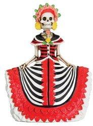 Dod Red Senorita Mexican Traditional Skeleton Sculpture