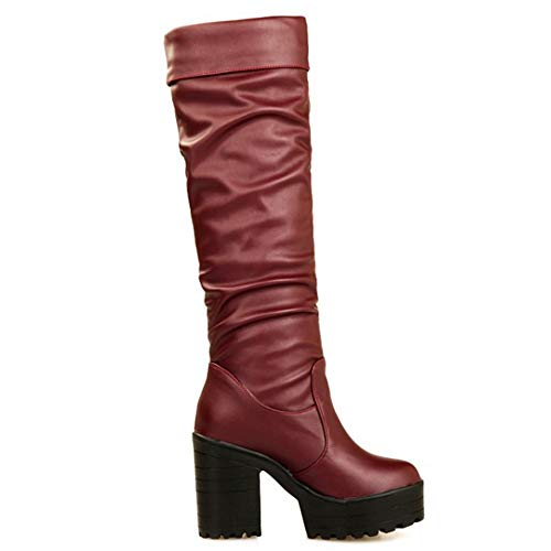 Rojo sin COOLCEPT Plisadas Cordones Plataforma Mujer 47 Botas nTwSUq