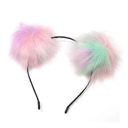 Blue, Purple, Pink & Green Unisex Double Fuzzy Pom Pom Headband for All (Headband Pink Green)