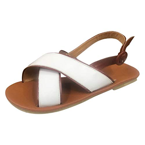 SUNyongsh Women's Sandals Cross Belt Buckle Sandals Fish Mouth High Heel Shoes Belt Buckle Ankle Strap Roman Sandals White ()