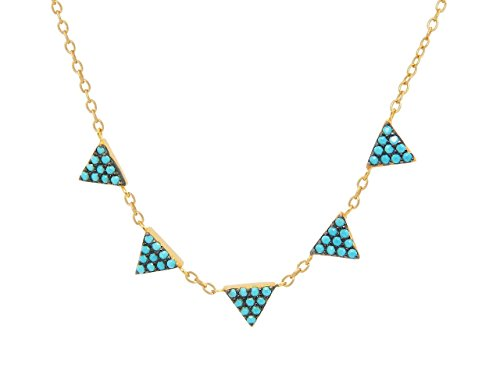 Minimalist Simulated Turquoise Triangles Necklace: Silver Sterling Gold Plated, 15.5