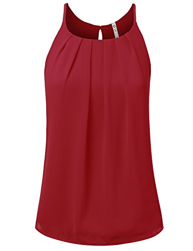 - NINEXIS Womens Sleeveless Front Pleated Back Keyhole Chiffon Tank Top RED M
