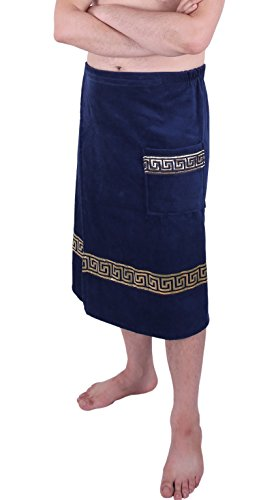 Made in Europa, Men's Velour Body Wrap for Bath, Shower and Spa, Greek Key Style Navy Blue