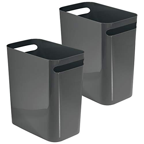 mDesign Rectangular Small Narrow Modern Slim Trash Cans Wastebaskets, Containers Bins for Bathrooms, Kitchens, Home Offices, Dorms - Pack of 2, 12 inch high, Plastic, Dark Slate Gray