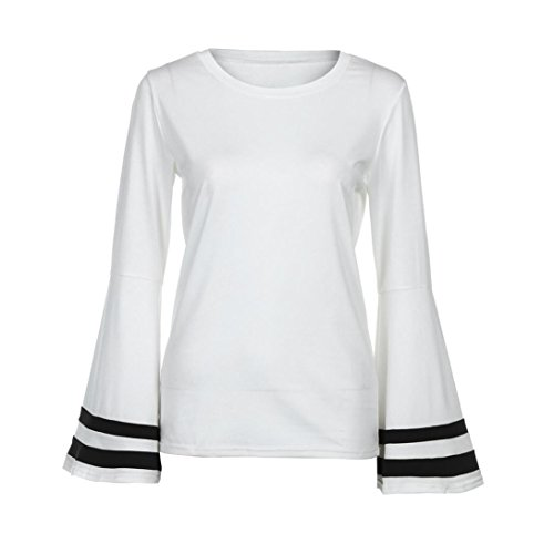 Arc Col Chemisier Blouse Femme shirt Noeud Manches Trompette xl T blanc Tops Claudine LMMVP Longues blanc à xwYUdqAII