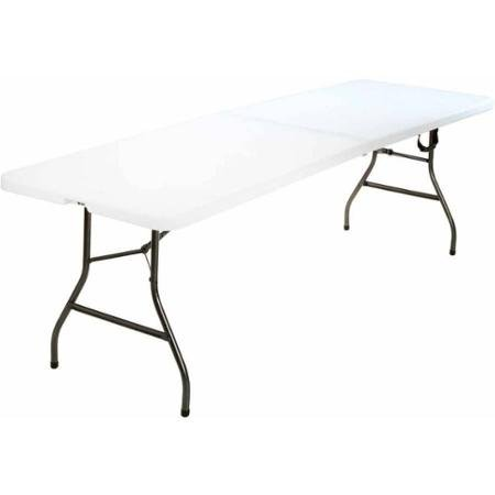 8 ft Centerfold Table, White 36.5 x 29.6 x 3 Folded for Easy Storage by Cosco