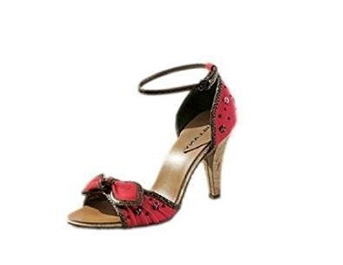 High heel sandal mix from Textile and Leather red Red ZwiMTBOey