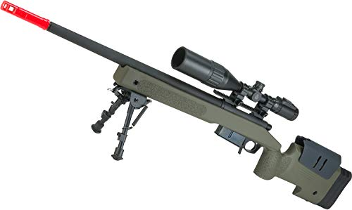 Evike ASG Licensed Mcmillan M40A5 Gas Powered Bolt Action Airsoft Sniper Rifle - OD Green ()