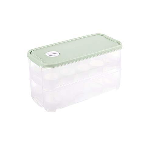 QIANLAI Porta-Huevos con Tapa, Caja de Almacenamiento frigorífico. 20 bandejas para Huevos, Transparentes. (2 Capas),Green