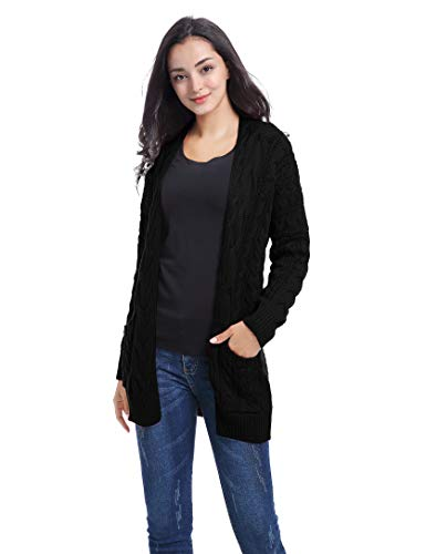 (v28 Women Vintage Cable Knitted Button Long Sleeves Coat Sweater Cardigan (Medium,Black))