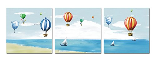 Purple Verbena Art 16''x16'' Canvas Painting Wall Decor Hot Air Balloon Flying on The Beach Blue Sky Pictures Prints Paintings, 3 Panels Framed Modern Giclee Walls Artwork for Home Kid's Room Decor -