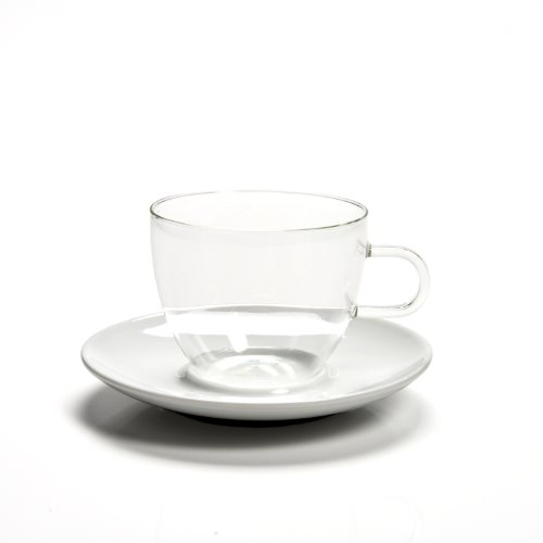 Jenaer Glas Coffee Collection Glass Coffee/Tea Cup with Porcelain Saucer, 8.3-Ounce, Set (Sterling Tea Saucer)