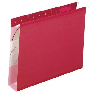 Pendaflex Reinforced 2 inch Extra Capacity Hanging Folders, 1/5 Tab, Letter, Red, 25/Box