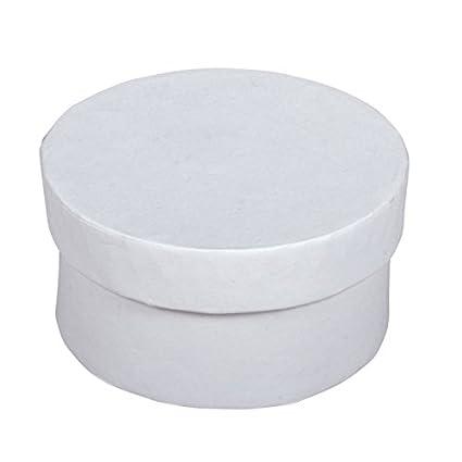 Juego de 4 cajas redondas – Papel maché blanco – diámetro 6 cm