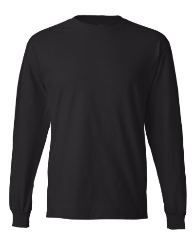 Men's 6.1 oz Hanes BEEFY-T Long-Sleeve T-Shirt, Black - 2XL Size