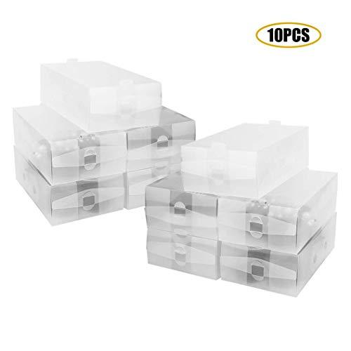 Set De 10 Piezas Plegable Y Apilable Diy Organizador De Caja De Almacenamiento De Calzado De Armario De Plástico...