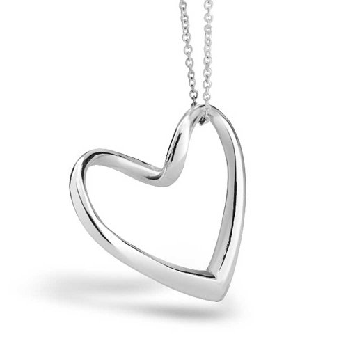 Floating Open Heart Pendant Necklace For Women For Girlfriend 925 Sterling Silver With - Heart Floating Necklace