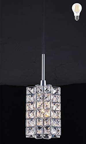 Smart Lighting-Shupregu 1-light pendant lighting, Crystal mini pendant light fixtures,Chrome finish crystal pendant lamp, for Kitchen Island, Dining room, Cafe,Bar, LED bulb Not Included