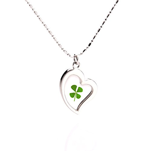 High Polished Stainless Steel Lucky Charm Four Leaf Clover Necklace, Lucky Clover Necklace for Women