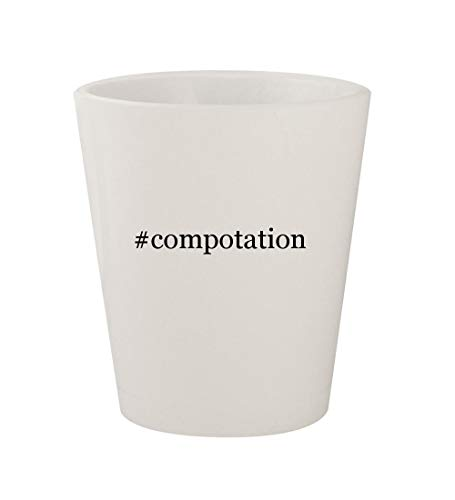 #compotation - Ceramic White Hashtag 1.5oz Shot Glass
