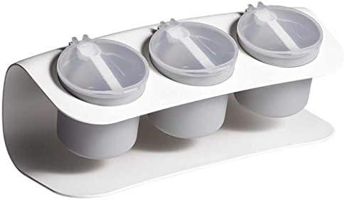 あなたのキャビ スプーン調味料ポットキッチン用品や材料Saltcellar付きボトルストレージボックススパイスジャー調味料キッチン用品 はパントリー (Color : Gray)