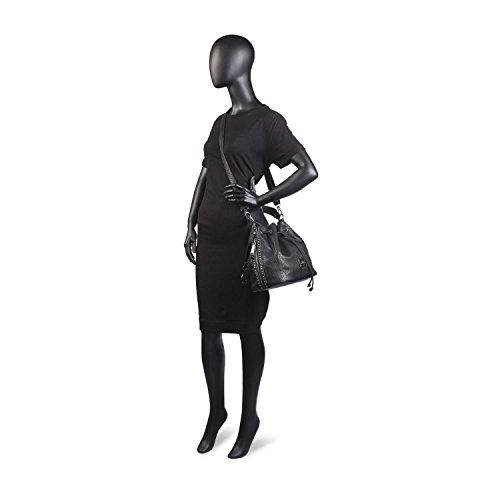 LOIS - Bolso tipo saquito en polipiel para mujer Rock Negro
