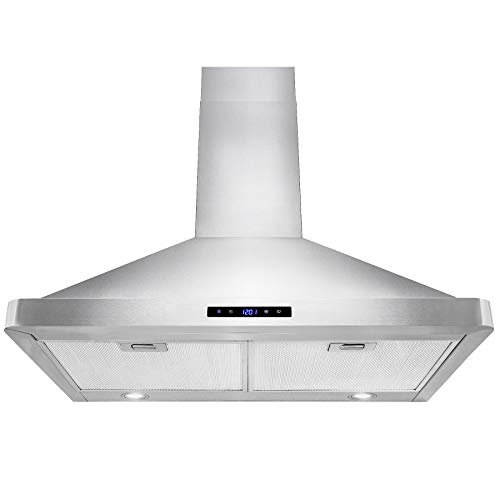 AKDY Wall Mount Range Hood 30-inch Stainless-Steel Hood Fan for Kitchen - 3-Speed Professional Quiet Motor - Premium Touch Control Panel - Modern Design - Mesh Filter & LED Lamp