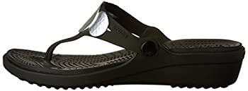 Crocs Women's Sanrah Embellished Flip Wedge Sandal, Blacksilver Metallic, 9 M Us 4