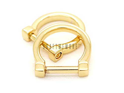 CRAFTMEmore D-Rings with Closing Screw Shackle Key Holder Horseshoe U Shape Dee Ring DIY Leather Craft Purse Replacement for 1/2 Inch Strap 4 pcs (Gold)