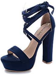 Mila Lady Lynn Women's Glamorous Platform Ankle Srappy Lace up Block Chunky He