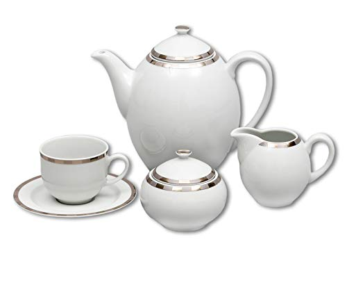 Elegant Porcelain Coffee Serving Set OPAL- 6x cup with saucer, 1x coffee pot with lid, 1x sugar bowl with lid, 1x milk pot, decorative china coffee full serving set