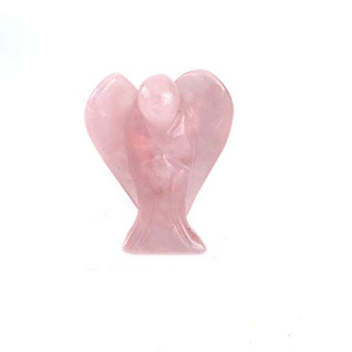 'Shanti by Mira' Unisex Natural Gemstone Guardian Angel Pocket Size (2cms / 0.80 inch) Crystal Healing Chakra Balancing Reiki Therapy Wellness and Relaxaton Gift ('Peace and Love' Rose Quartz Angel)