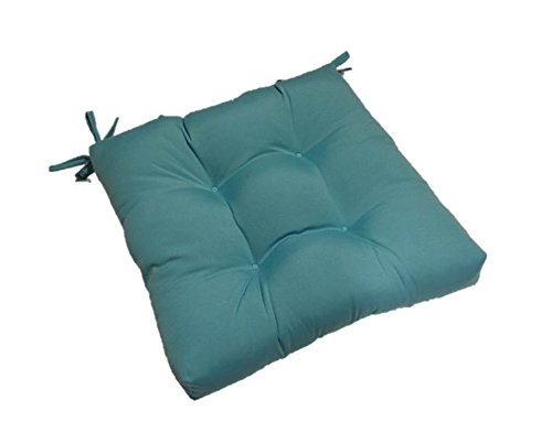 Resort Spa Home Decor Indoor Outdoor Solid Cancun Blue Universal Tufted Seat Cushion with Ties for Dining Patio Chair – Choose Size 22 x 21