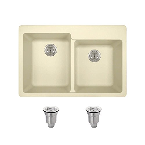 MR Direct T801 Beige Topmount Trugranite Kitchen Ensemble with Basket Strainers (Bundle - 3 Items: Sink and 2 Strainers)