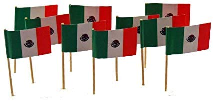 25 Box Wholesale Lot of Mexico Toothpick Flags, 2500 Small Mini Mexican Flag Cupcake Toothpicks or Cocktail Picks ()