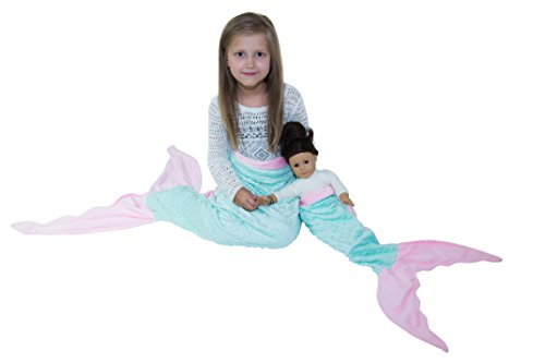 Mermaid Tail Blanket By JLIKA with Free Doll Blanket Included (Aqua Pink)