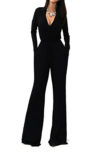 Vivicastle Sexy Wrap Top Wide Leg Long Sleeve Cocktail Knit Jumpsuit (Large, Black) (Jumpsuit Wrap)