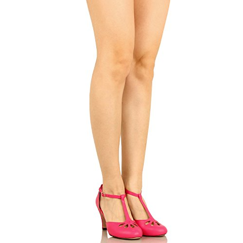 Chase & Chloe Kimmy-36 Damen Teardrop Ausgeschnittene T-Strap Mid Heel Pumps Fuchsia Pu