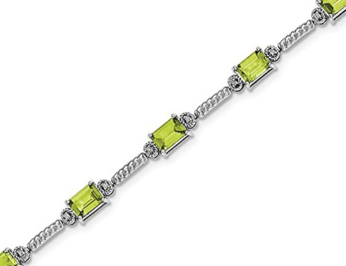 Gem And Harmony Natural Emerald Cut Peridot Bracelet 4.50 Carat (ctw) in Sterling Silver