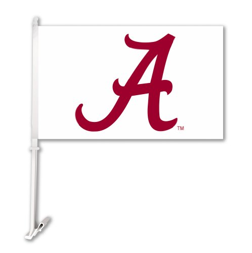 (NCAA Alabama Crimson Tide Car Flag A Red with Team Color Background with Free Wall Bracket )