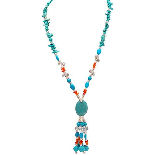 JYX 3x12mm Oval White Freshwater Pearl and Blue Irregular Turquoise and Coral Necklace