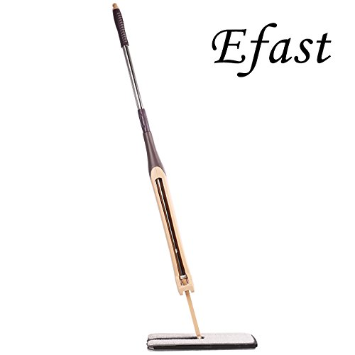 Flat Mop, Hand-section Mop Three-section Lazy Mop with Stainless Steel Handle, Good for Hardwood, Laminate and Tile Flooring