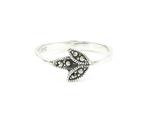Leaf Marcasite Ring (Sterling Silver Marcasite Leaf Ring, Flower Ring, Minimalist, Nature, Boho, Bohemian, Gypsy, Festival Jewelry)