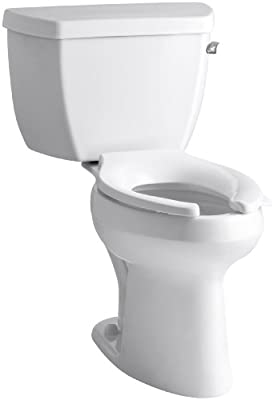 Kohler K-3519-RA-0 Highline Classic Comfort Height Elongated 1.0 gpf Toilet with Right-Hand Trip Lever, Less Seat, White